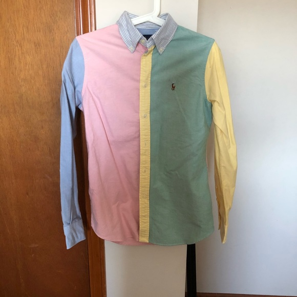 a210a450e Ralph Lauren pastel colored button down shirt